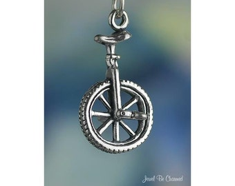 Sterling Silver Unicycle Charm Tricks Clown One Wheel 3D Solid .925