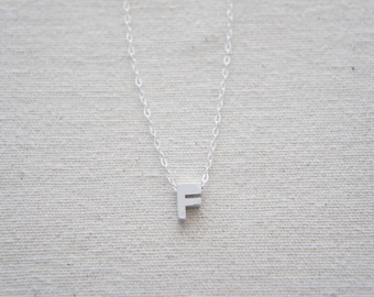 "Silver Letter, Alphabet, Initial capital ""F"" necklace, birthday gift, lucky charm, layered necklace"