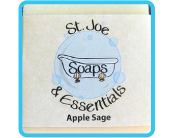 Apple Sage Soap, Handmade Soap, All Natural Soap, Organic Saponified Olive Oil, Coconut Oil, Shea Butter, Fragrance Oil