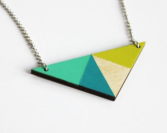 Geometric colorful necklace, wooden triangle necklace, blue green wooden necklace, minimalist necklace, triangle pendant, modern jewelry