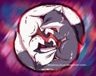 "Yin Yang Foxes Art Print - 8""x10"" or 11x14"" - original anime manga fox animal - Bianca Loran Art"