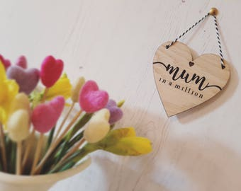 Made to order - Mum in a million (heart, mini)