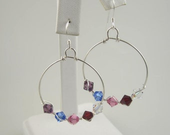 WSE-0111  Mothers, Grandmothers, Handmade Birthstone Swarovski Crystal and .925 Sterling Silver Wire Wrapped Hoop Earring