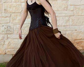 Brown Cotton Gauze Renaissance Skirt - Adult Halloween Costume - Womens Renaissance Clothing - Medieval Costume - Ren Faire Garb - SCA LARP