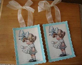 Vintage easter tags paper ornaments cute little girl glittered gift tags Easter home decor farmhouse shabby chic
