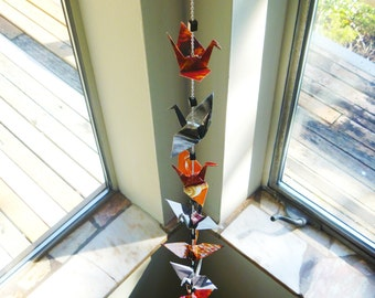 Hanging Chain of 9 Origami Cranes with Pendant bead: black white orange colorful recycled-upcycled-reclaimed-repurposed paper #c208 marlisa
