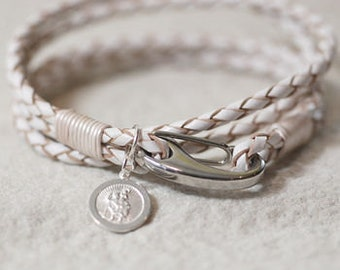 White Leather St Christopher Wristband, Safe Travels Wristband, Genuine Leather S5E8