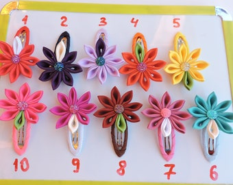 Kanzashi fabric flowers. Snap clips. Small flower hair clip. Girls hair clip. PICK THE COLOR.