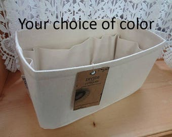"11.5""L x 5""W x 6""H rectangular / Purse ORGANIZER insert SHAPER / Sturdy & Durable / With stiff wipe-clean bottom / You Choose Color"