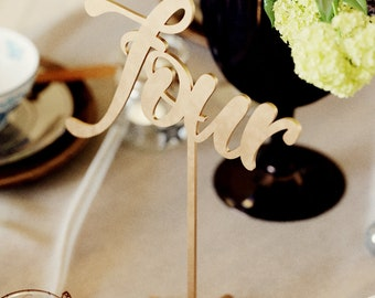 Elegant Vintage Rustic Decoration Table Number | Gold Wedding Unique Engraved Table Number | Custom Gift Modern Rose Gold Table Number