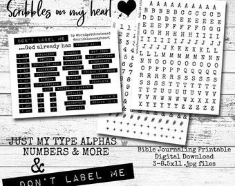 Bundle-Don't Label Me...God already has & Just My Type Alphas and More, bible journaling printable