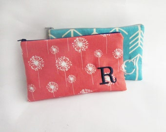 Bridesmaid bags - Set of 2 Personalized Wallet with initials - Embroidered Boho Makeup bag - Large Monogrammed Zippered Clutch