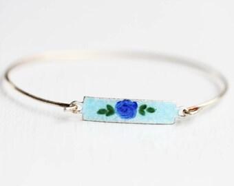 Enamel Bar Bracelet - Blue