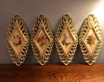 Vintage Burwood Products Company Floral Wall Decor Shabby Chic - Set of 4