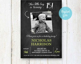 15th Birthday Invitation for boys | Personalized Chalkboard collage photo invite for him best brother son in law |  DIGITAL file!