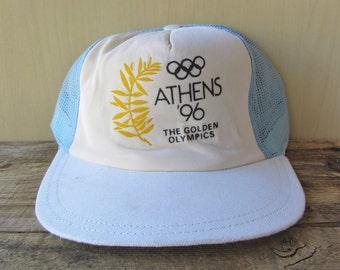 RARE ATHENS '96 The Golden Olympics 100 Years Celebration Original VINTAGE 90s Light Blue Mesh Snapback Trucker Hat Greece Olympic Souvenir