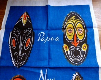 Vintage New Guinea Tea Towel With Masks Mint Condition