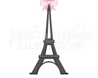 Eiffel Tower With Bow Cute Digital Clipart Clip Art Bridal Graphics