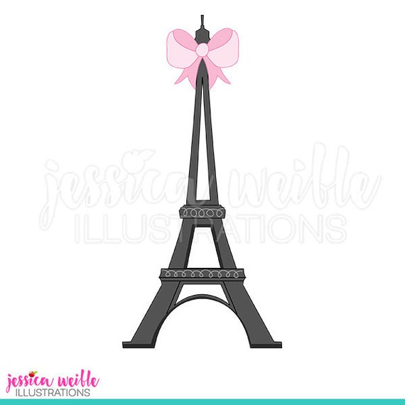Eiffel Tower With Bow Cute Digital Clipart Clip