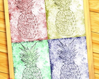 """Psych - edelic Pineapples - 10"""" x14"""" HD Digital Print of Four Pineapples (Five Prints - 1 Together, 4 Apart)"""