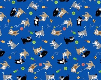 Cats Fabric:  Studio-E A Cat Tale Cats Play on Blue 100% cotton fabric by the yard  (M186)