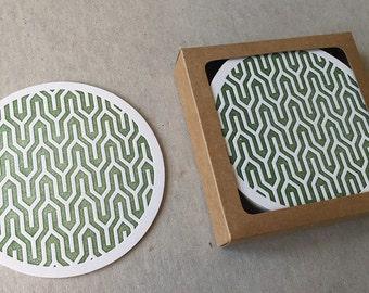 Letterpress olive Japanese motif coaster set (#CST004)