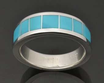 Men's Turquoise Wedding Ring In Sterling Silver, Turquoise Wedding Band, Blue Turquoise Inlay Ring by Hileman