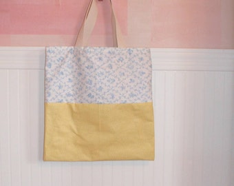 Sweet Girly Tote. Lemon polka dots with  powder blue and white.