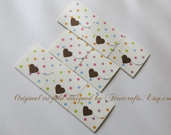 Mini note cards- Small cards- Mini notecards- Polka dot- Tri-fold envelope mini blank cards- Baby shower favors-Birthday -20 Blank notecards
