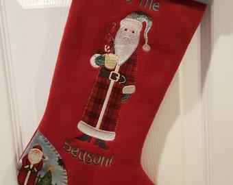 Mens Santa Christmas Stocking, Mens Red Christmas Stocking, Mens Christmas Stocking, Red Christmas Stocking, Personalized Stocking