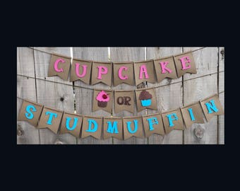 Cupcake or Stud Muffin Banner | Cupcake or Stud Muffin | Gender Reveal Banner | Baby Shower Banner