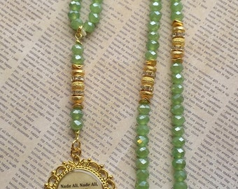 99 para tasbih made with these exquisite green crystals and a ravishing purple tassel chugga