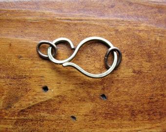 Hammered Antiqued Brass Hook Clasp - 1 - 18 gauge Hook Clasp