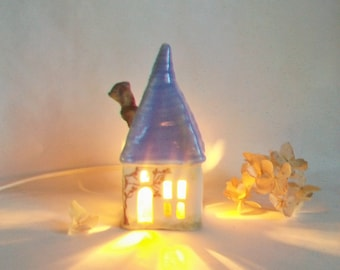 Fairy House/ Night Light - not quite Squared Up By Hand - with a Purple Roof  and 2 Vines Growing up on All Sides - Ready to Ship