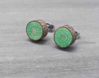 Boucles d'oreille avec émeraude vert bois boucles d'oreilles - Boucles d'oreilles écorce - bois franc Faux Plug Fake Gauge poste boucles d'oreilles avec acier chirurgical