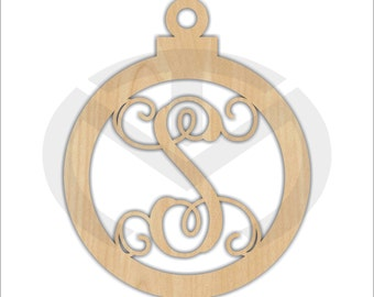 Unfinished Wood Ornament Monogram Door Hanger Laser Cutout w/ Your Initial, Home Decor, Various Sizes, Script, Christmas