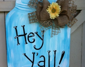 Mason Jar Wooden Door Hanger Personalized Burlap Bow  Hand Painted