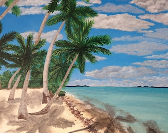 Tropical Beach Painting on canvas Not a Print Free Shipping to North America
