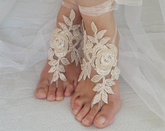 Barefoot sandals, wedding shoes, summer shoes, Beaded champagne lace wedding sandals,