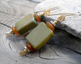Turquoise Earrings Geometric Southwest Mixed Metals December Birthstone Metaphysical Healing Stone