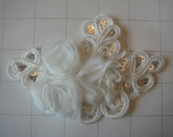 "White Flower and Sequins Braided Applique 4 1/2"" by 3 1/4"""