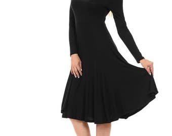 Long Sleeve Fit and Flare Midi Dress Black
