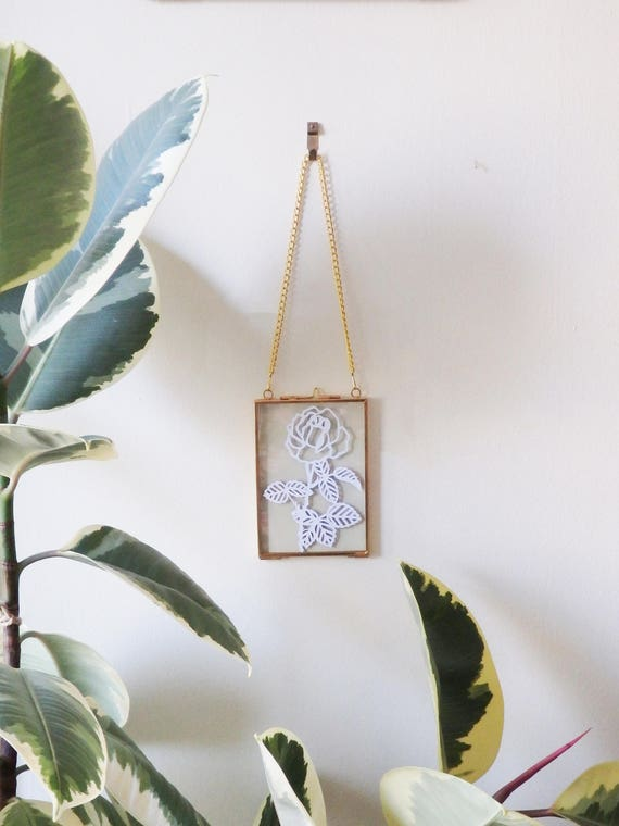 English Rose Paper Cut in Hanging Glass Frame