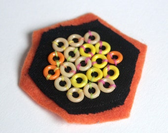 Honeycomb bee collection // 50% of sales to BEE RESEARCH! // Hand embroidered patches 3""