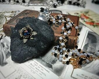 Sacred heart milagros soldered pendant necklace.