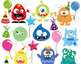 Monster Clipart, Monster Party clip art for Personal and Commercial Use / Card Design/ Scrapbooking/ Web Design/ INSTANT DOWNLOAD