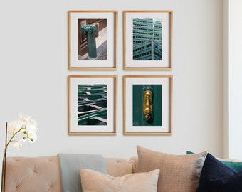 Blue Green 4V Print Collection.  Architectural photography, urban details, decor, wall art, artwork, large format photo.
