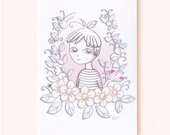 Beni: cute greeting card, pixie, garden, soft pastel,eco-friendly