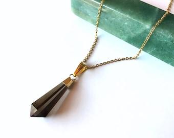 Smokey Quartz Necklace - Natural Gemstone, Smokey Quartz Pendant
