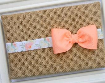 Peach Bow Headband, Newborn Headband, Baby Headband, Bow Headband, Flower Headband